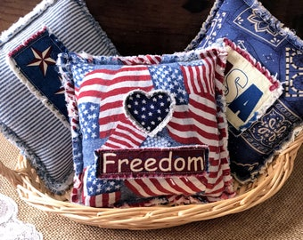 Fourth of July Shabby Americana Tucks, Americana Ornies, Independence Day Bowl Fillers, Americana Decor - Ready to Ship