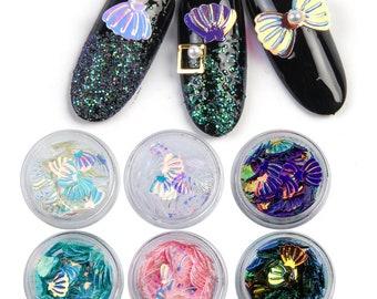 6 bottle set glitter sea shell iridescent plastic nail art decoration small pc colorful GS0520