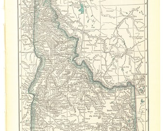 1921 Hammond's Vintage Map Pages (Idaho on one side and Utah on the other side)