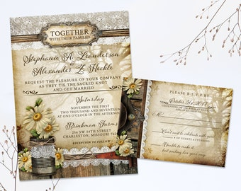 Rustic Daisy Wedding Invite Suite, Daisy Floral Wedding Stationery, Country Rustic Invites, Country Chic Wedding Invitation, Tin Can Tree