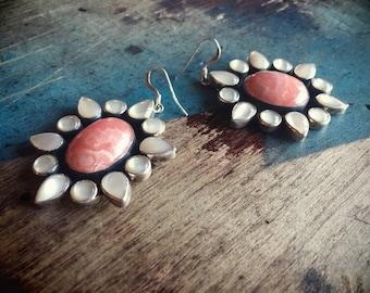 Navajo Earrings Rhodochrosite and Moonstone Earrings Sterling Silver Dangle Earrings