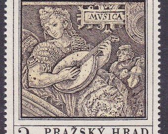 Czechoslovakia Vintage ART Stamps 1971. 16th Century Mural Alegory of Music & Abbess' Crosier 16th Century. Stamps+Sheets of Four as Made