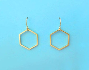 Lovely, Hexagon, Gold filled, Hooks, Gold, Earrings, Honey, Comb, Hive, Dangle, Drop, Birthday, Friendship, Mom, Sister, Gift, Jewelry