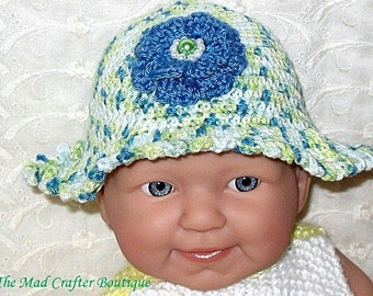 Crocheted Infant Hat in Blue and Green Variegated Patons Grace Cotton Yarn