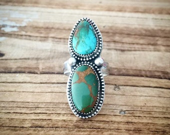 Genuine Royston turquoise ring set in sterling silver