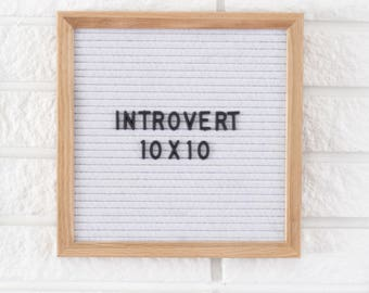 "Ready to Ship! - 10x10"" Introvert Letter Board - Oak Frame - Felt Board with 300+ Black Letter Set"