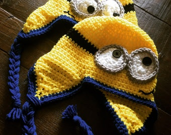 Minion Earflap Hat All Sizes