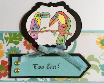 Set of 2 handmade Notecards / Friendship Cards / Birds Toucan Card Set