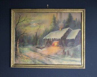 1920's Vintage Framed Print of Winter Barn Scene by Borin Manufacturing Co Chicago