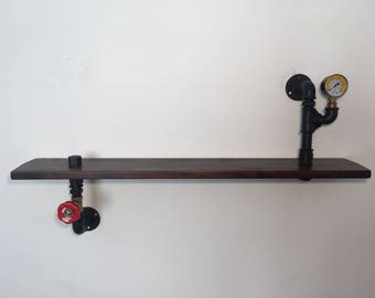 Industrial Steampunk style shelf in hydraulic tubes.