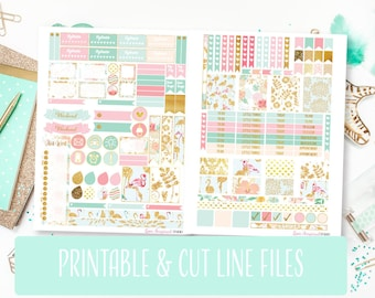 50% Sale Digital Planner Stickers, Printable Stickers, Flamingo Stickers, Weekly Stickers, Silhouette Cut File, Gold Pink Scrapbook Stickers