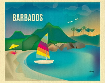 Barbados Art, Barbados map, Barbados skyline, Barbados Travel, Barbados Wall Art, Barbados print, Caribbean poster, Art - style E8-O-BARB