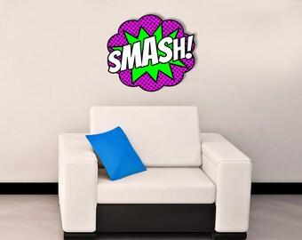"SMASH! comic book/pop art laser cut metal sign 14.5"" x 13"""