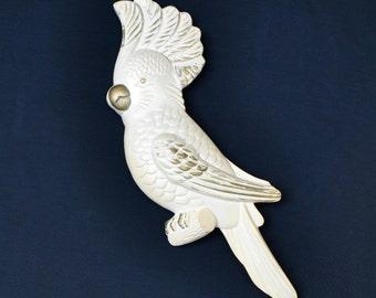 Vintage 70s cockatiel bird by Miller Studio, cream and gold plaster, hangs on wall