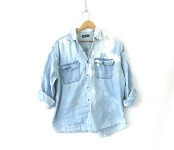 BLEACHED 90s Jean Shirt Worn In Denim Shirt Button Up Oversized Distressed Bleached Jean Shirt Pocket Oxford Shirt Mens Shirt Size XL