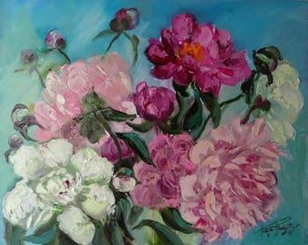 Original oil painting, Peonies, Brush and Palette Knife, floral art, Hand Painted Flowers, home decor, gift ideas, art