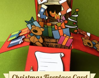 Christmas Fireplace card - 3D explosion box - Instant download - print and make - Printable card
