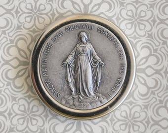 Miraculous Medal Car Plaque - La Milagrosa - Alpacca Silver - Virgin Mary - Virgen Maria