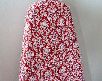 Ironing Board Cover - red and white small damask