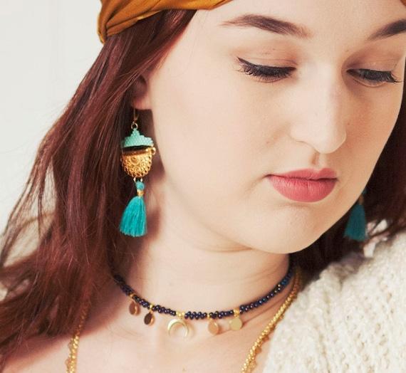 Boucles d'oreilles ethniques, perles tissées, pompon