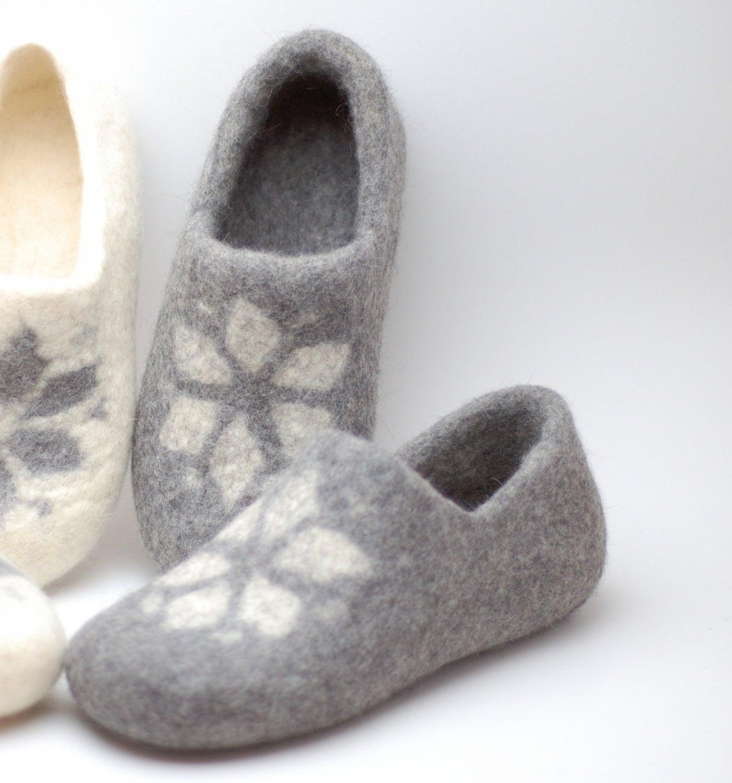Laine feutrée sabots jeu de 2 paires - pantoufles en en en laine bio naturel fait à la main - toutes les tailles 2ee9a4