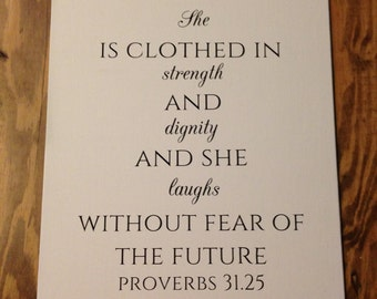 Proverbs 31:25 Canvas, Proverbs 31 Woman, Clothed in Strength and Dignity, Bible Verse Canvas