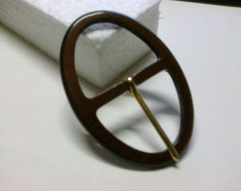 Burgundy oval buckle plastic passage 3.7 cm * BO145 *.