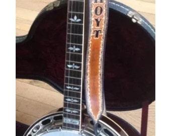"Custom handmade leather handtooled personalized retro banjo strap 2"" wide"