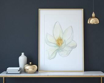 Magnolia Blossom Flower Wall Art Print, Wall Decor, Printable. Instant Digital Download