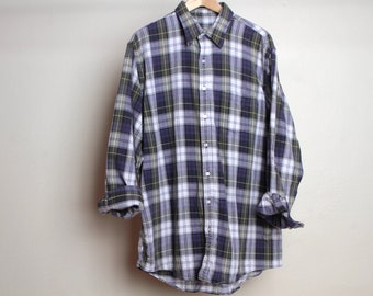vintage FLANNEL nirvana kurt COBAIN 90s soft plaid flannel shirt size LARGE twin peaks style flannel