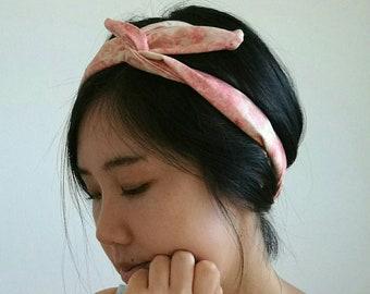Pink marbled print wire headband // bandana turban wrap