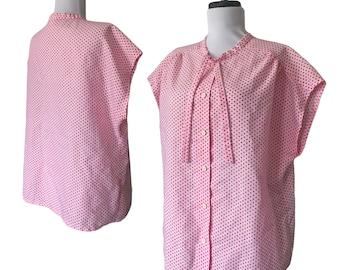 80s Pink + Red Polka-Dot Ascot Blouse — Large