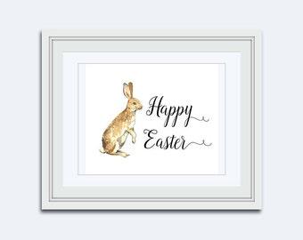 Easter bunny printable - Happy Easter printable - Easter wall art - rabbit Printable - childrens wall art - Easter Decor - kids printable