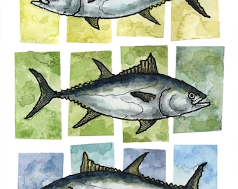 Art Print // TUNA SQUARES - Ink & Watercolor