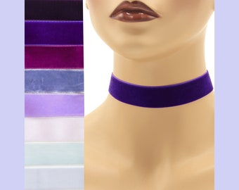 Purple Velvet Choker 7/8 inch wide Custom made Your Length and Color shade (approximate width 0.875 inches;  22 - 23 mm) plum pale lilac +