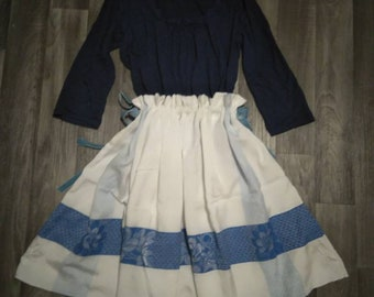 Blue and white, Knee-length, Drawstring Skirt