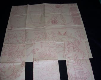 Mid Century Redwork Transfers..Set of 4...Set No. 2966/2967/2968/2969..Various Hot Iron Transfers for Bibs & Other Baby Items...Towels..