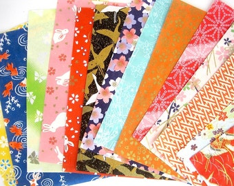 Origami paper pack, Yuzen japanese paper, chiyogami scrapbook paper, 14 printed origami sheets, colorful variety patterns, craft supplies
