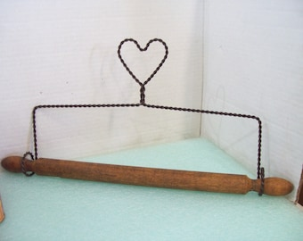 Vintage Primitive Wire and Wood Towel Holder, Heart Shape, Free Shipping