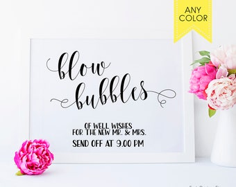 Wedding bubbles sign Romantic wedding Blow Bubbles Wedding Sign Summer wedding Bubble send off sign for wedding Personalized wedding signs