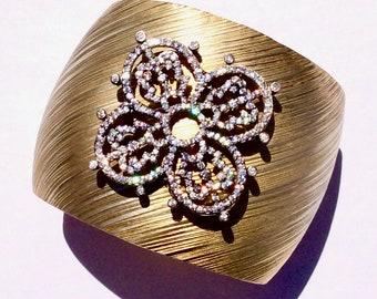 One of a kind gold plated sterling silver and CZ cuff.