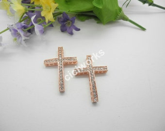 10 pcs 25mmx 36mm White Rhinestone Rose Gold Plated Curve Sideway Cross Bracelet Connector Charms Beads