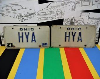"1980 OHIO LICENSE Plates...""HYA""...Birthday?...Graduation?...Anniversary?...Just Plain Garage Art!"