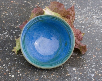 Bowl, Ocean Blue with hints of Green Fruit bowl, Blue Green, Natural Patina High Fire Stoneware, Hand Painted, Ready To Ship