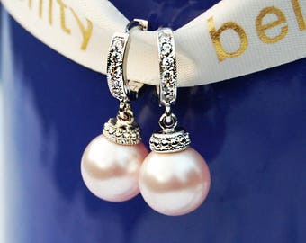 Blush Wedding Jewelry 545ER Light PINK Pearl Earrings White Gold CZ Bridal Earrings PINK Pearls & 9 Other Colors. Cz Hoops. Bridesmaids