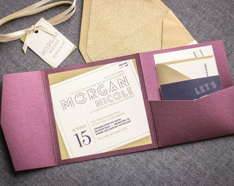 "Modern Pocketfold Invitations, Plum and Gold Invitations, Custom Bat Mitzvah Invitations, Glitter Invitations - ""Modern Angle"" PF-NL SAMPLE"