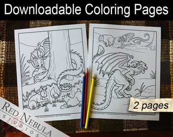 Coloring Pages 24-25 - Shella the Dragon, Young Adult Coloring Page, Fantasy Coloring Book Pages, Playtime, Bobcat Kittens, Chase, Tag, Play