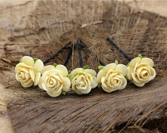 Yellow Mulberry Paper Flower Hair Pins , Bridal Hair Pins, Hair Bobby Pins,U pins,Prom,Bridal Hair Accessories (FL381)