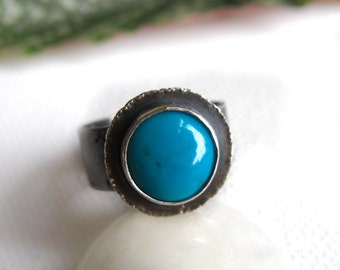 """Turquoise Ring in Sterling Silver - """"Life"""" OOAK"""