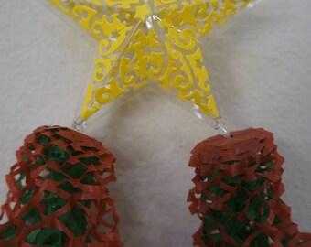 One Ready to Ship 4 x 8 inches Miniature Filipino Paper Christmas Lantern AKA Parol - Christmas Tree Ornaments